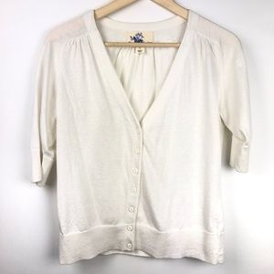 Title Nine Cardigan Sweater Large White Short Slv